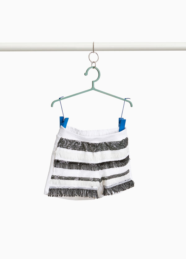 Shorts cotone stretch con paillettes
