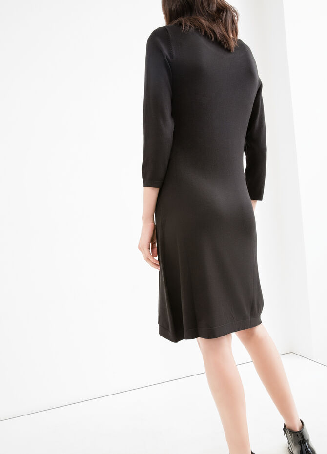 Solid colour viscose blend dress
