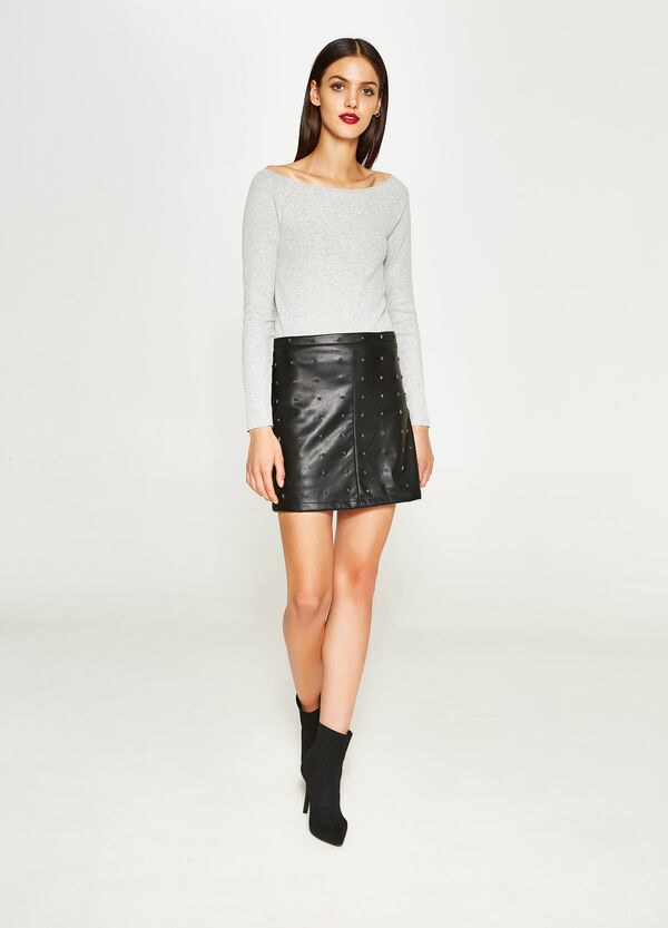Leather look miniskirt with studs | OVS