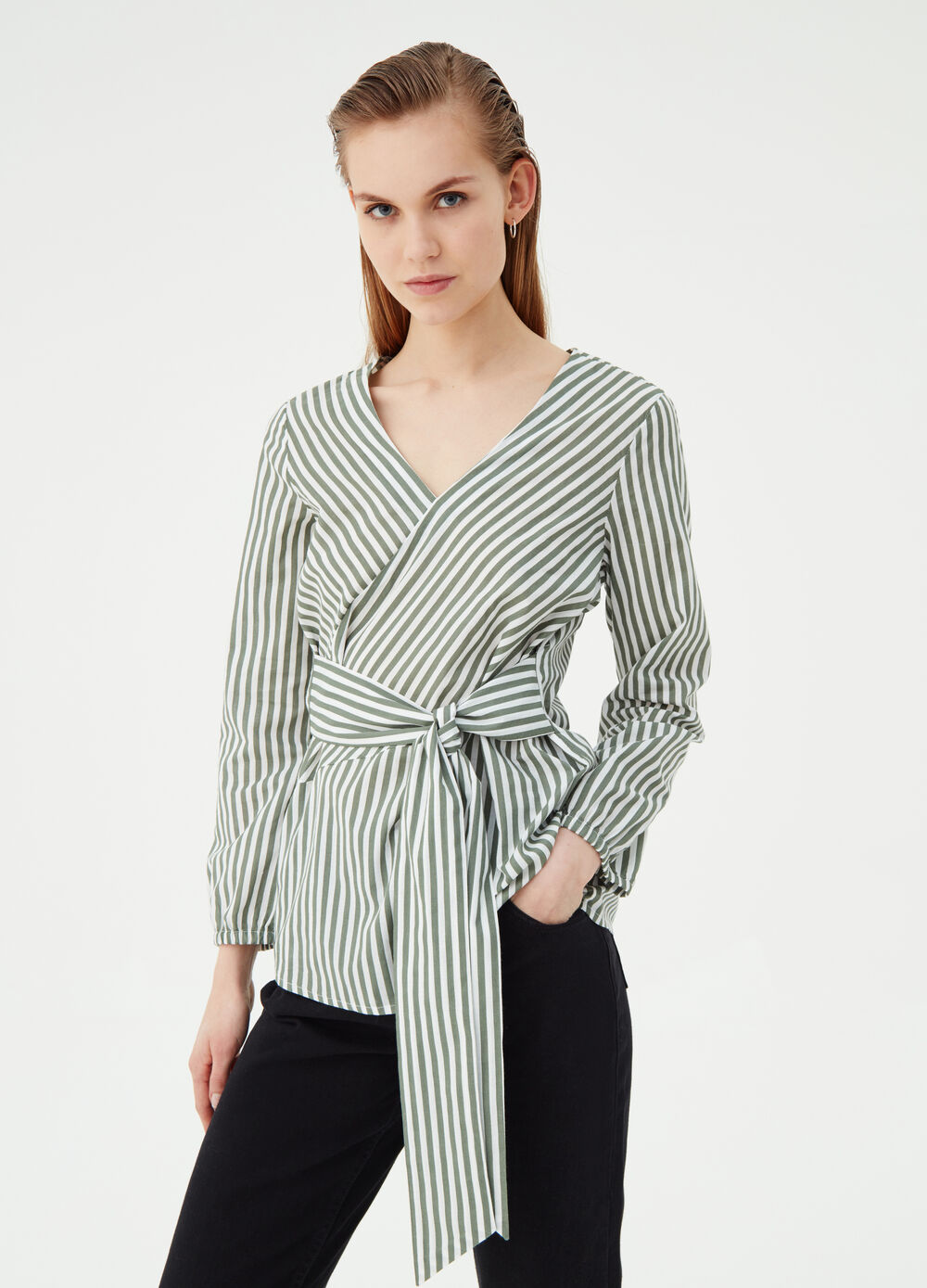 Striped crossover blouse in 100% cotton