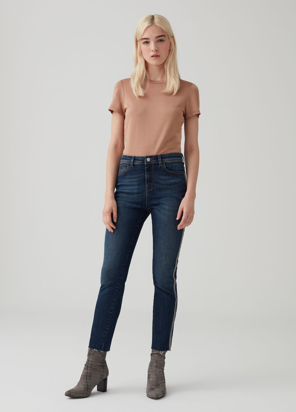 Skinny-fit denim trousers with jewel band