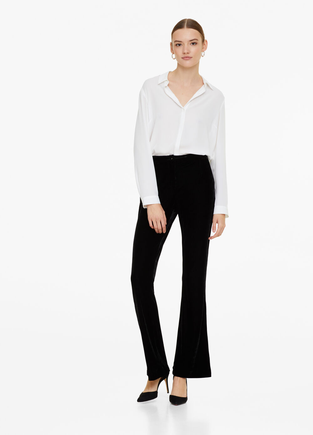 Solid colour bell-bottom trousers
