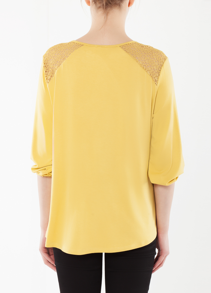 T-shirt stretch con pizzo image number null