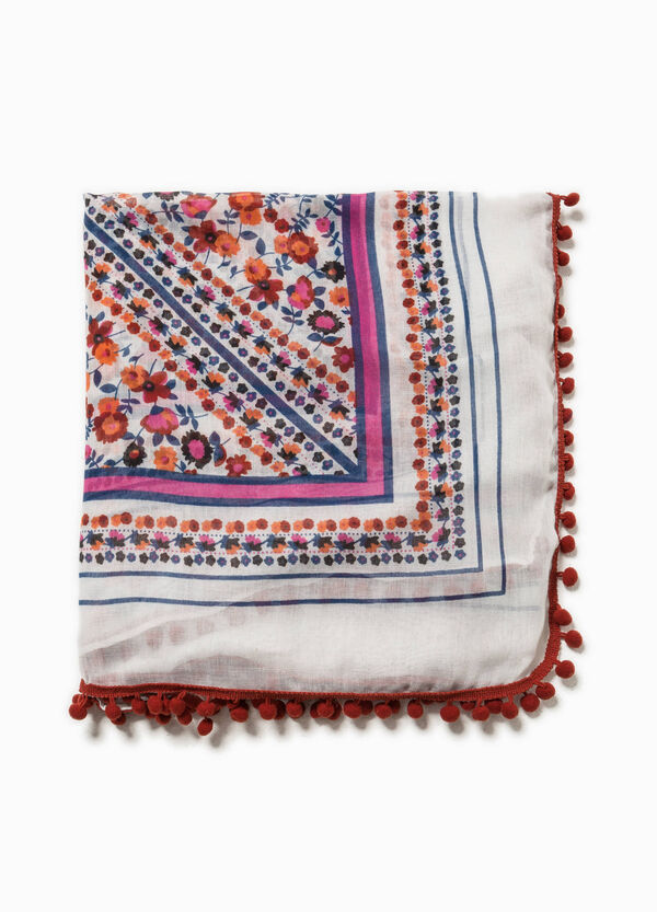 Patterned scarf with trim | OVS