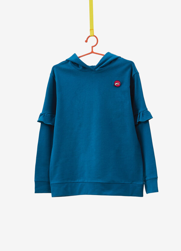 100% cotton sweatshirt with patch and flounce