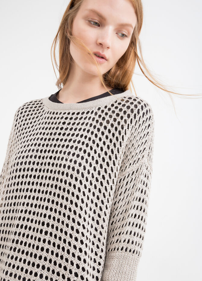 Solid colour openwork knit pullover