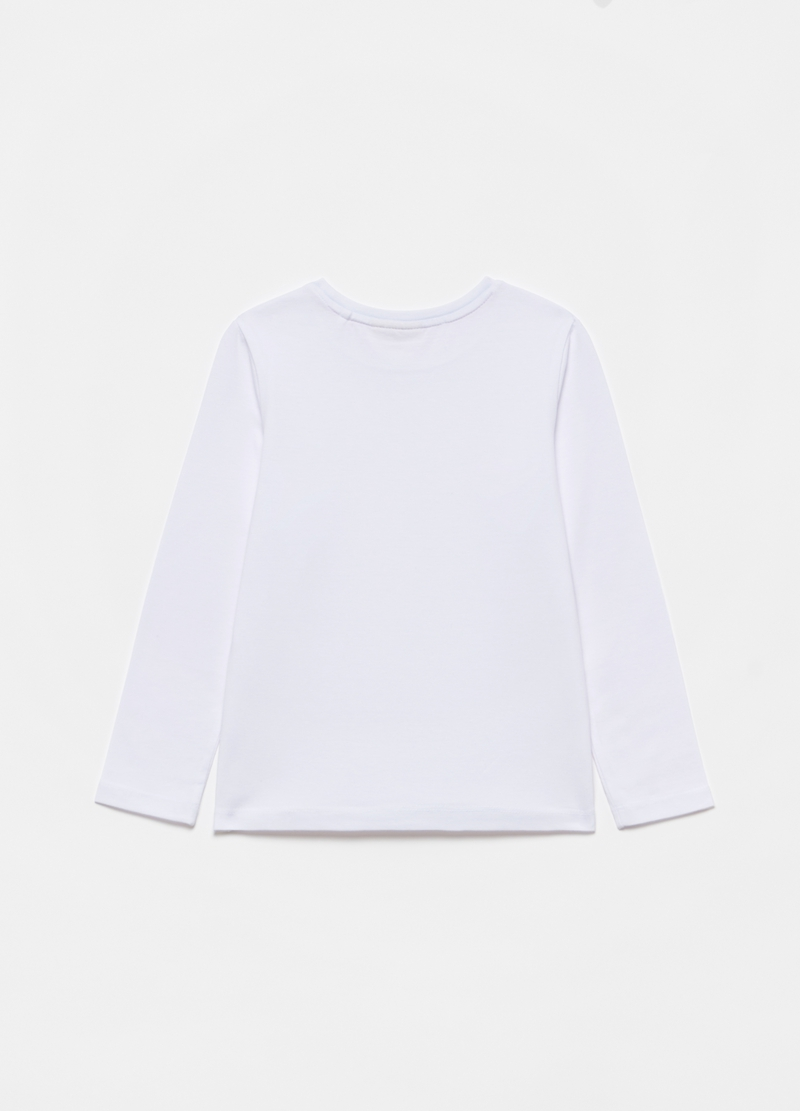 Stretch cotton T-shirt with long sleeves image number null