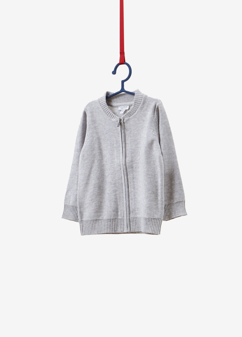 Cotton blend knitted cardigan with zip