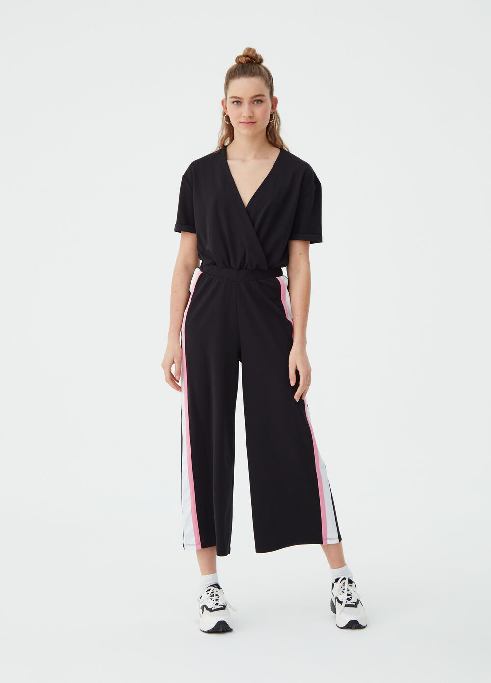 Cropped jumpsuit with crossover and bands