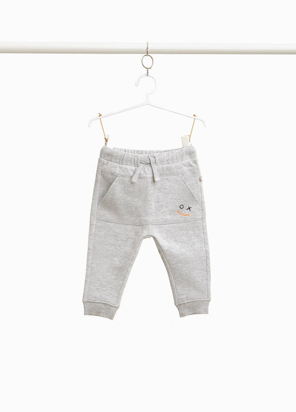Mélange joggers with smile print
