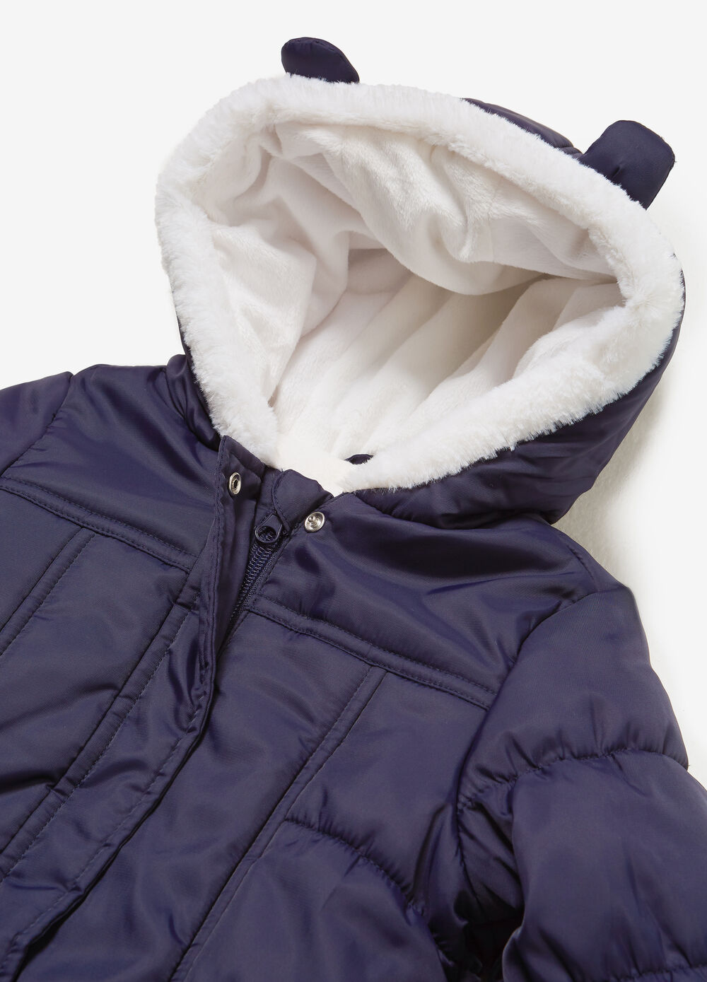 Solid colour quilted Eskimo onesie