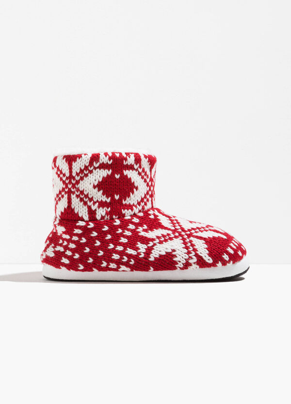 Patterned slipper boots