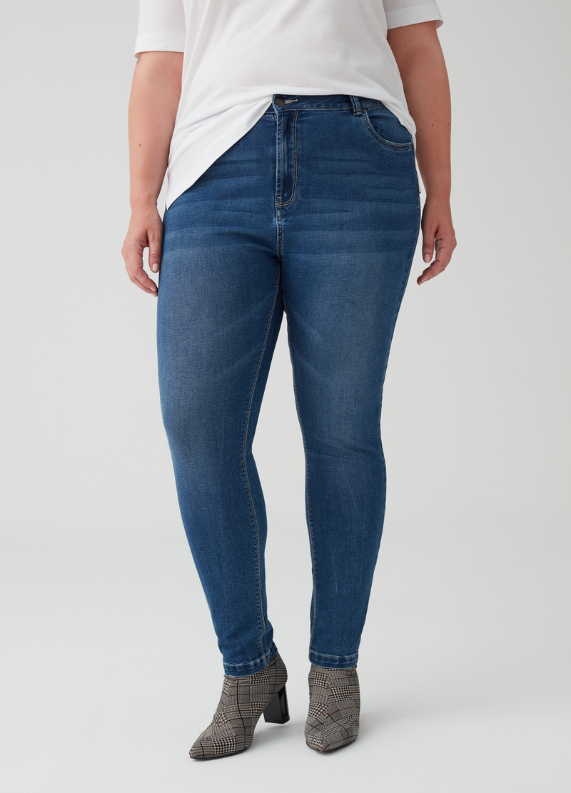 Jeans stretch effetto delavato Curvy image number null