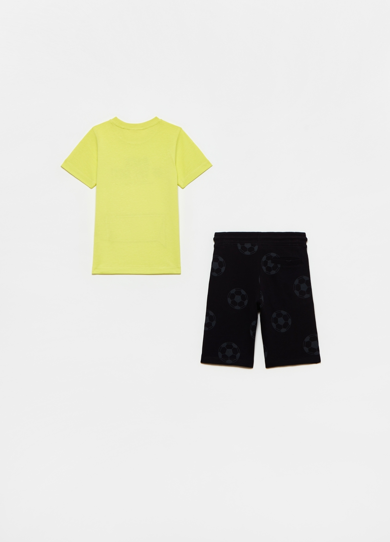Cotton jogging set with football motif print image number null