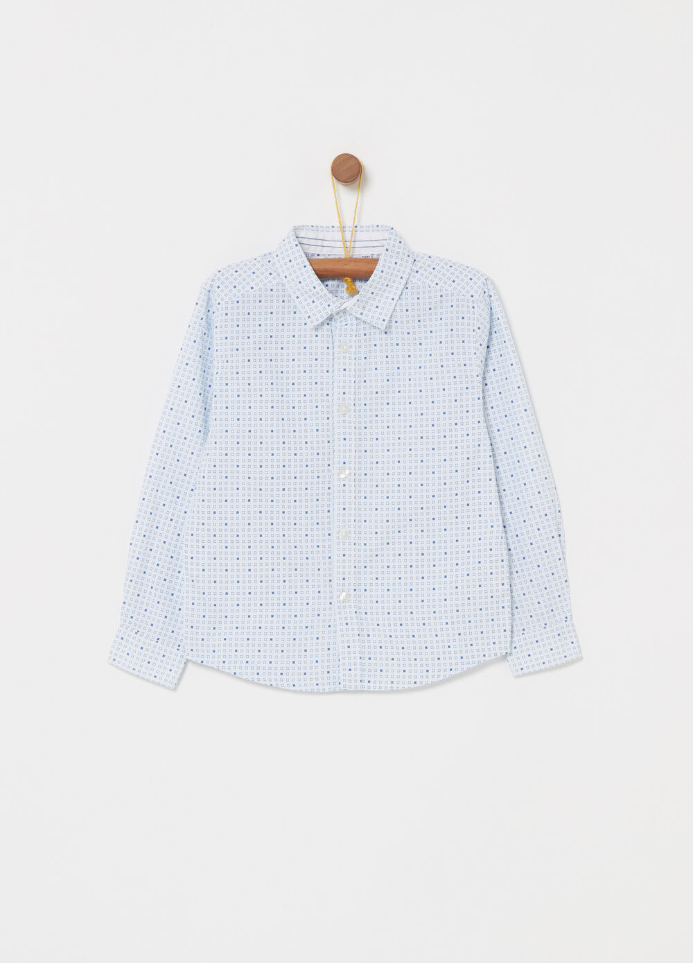 Poplin shirt with geometric pattern