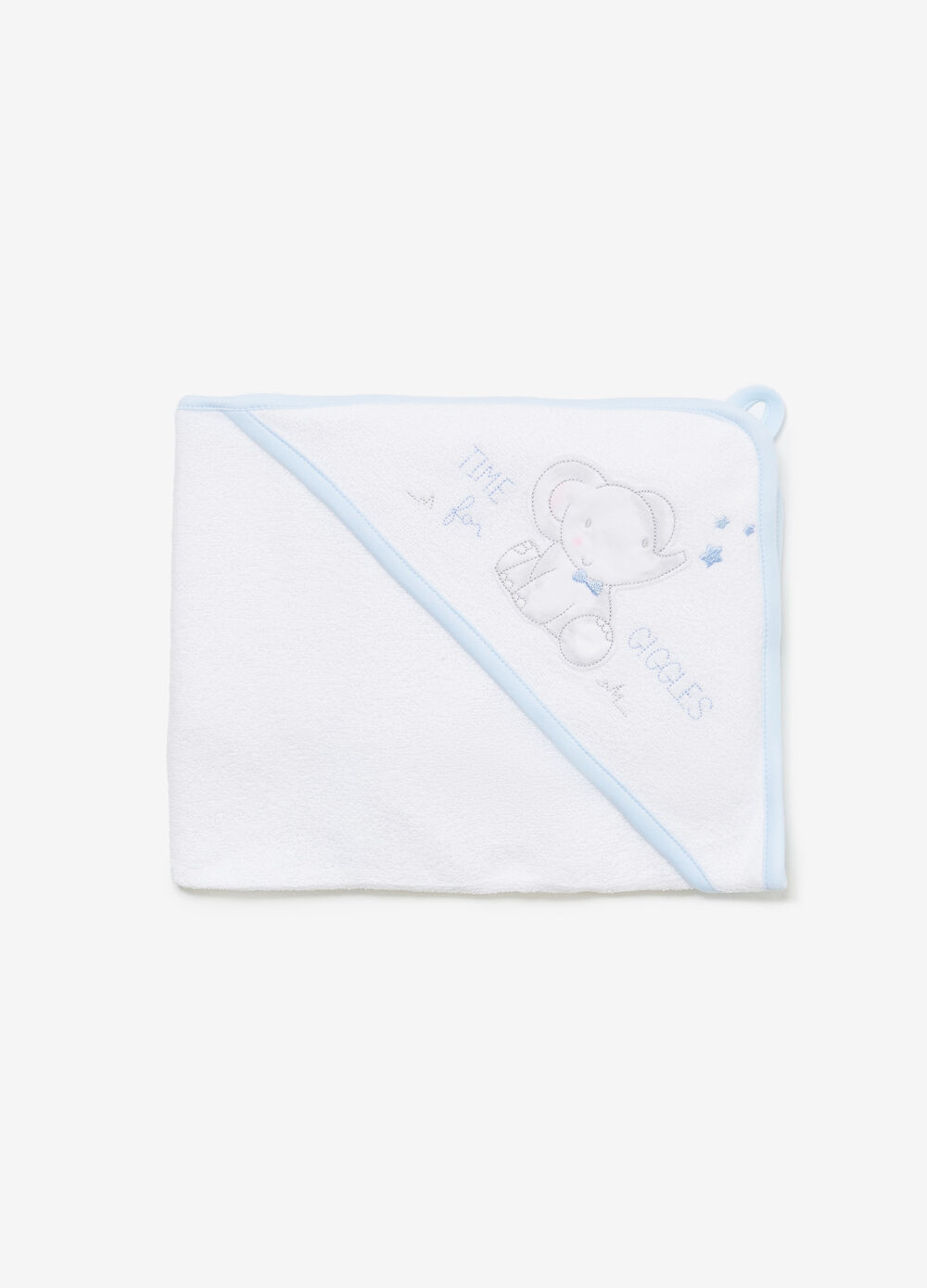 Cotton towel with patch and pocket
