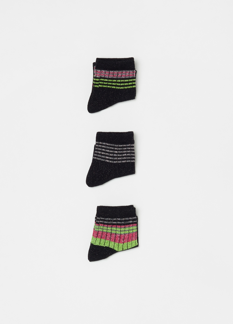 Three-pair pack short socks with lurex image number null