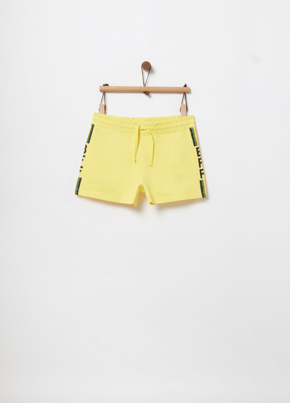 French terry shorts with striped print