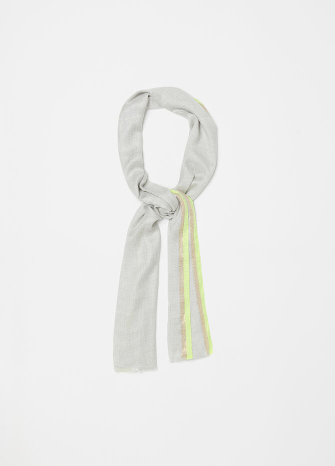 Pashmina with lurex and striped trim
