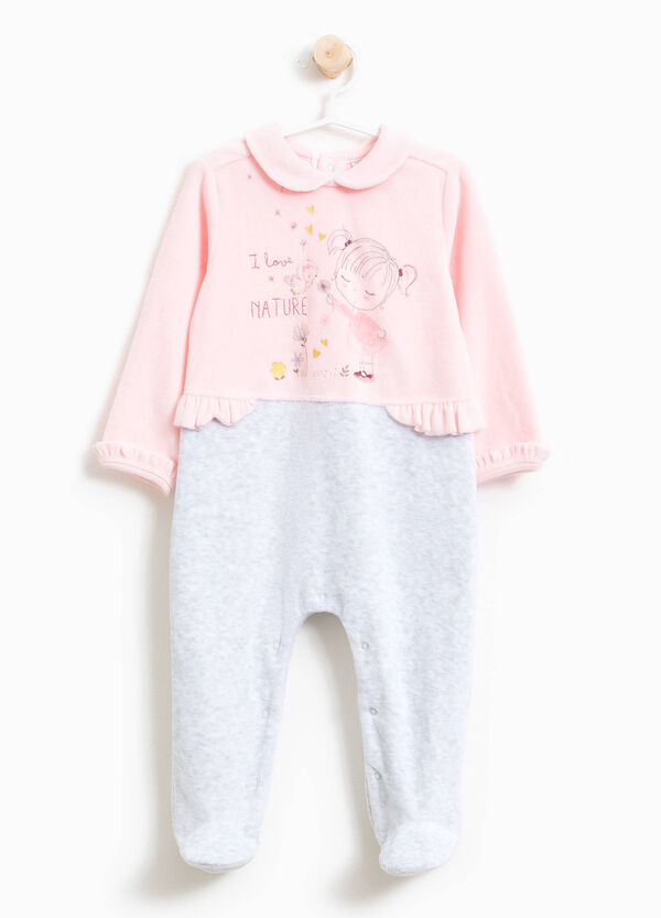Two-tone sleepsuit with rounded collar | OVS