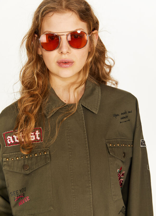 100% cotton parka with patches
