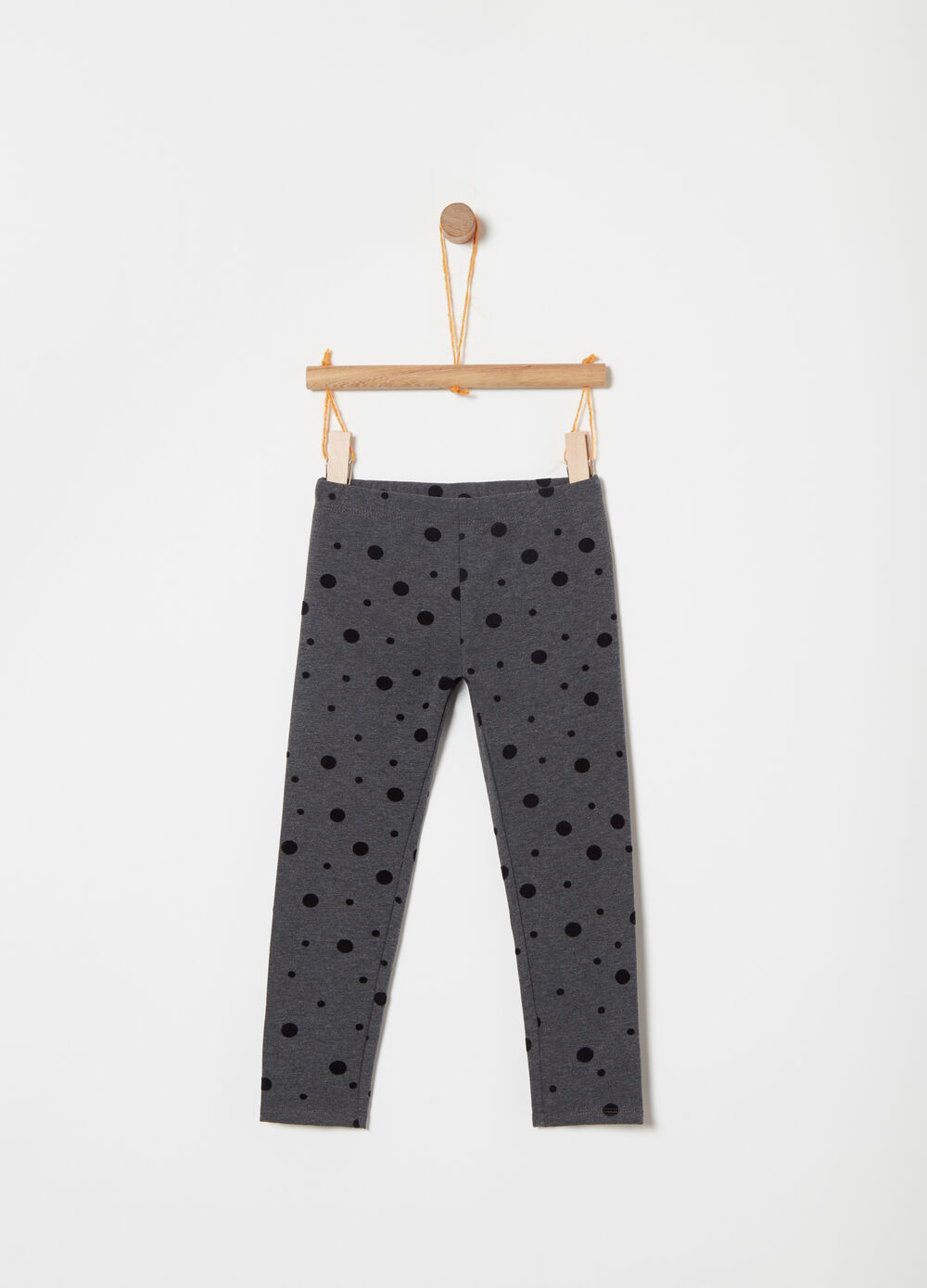 Leggings in felpa con stampa pois flock