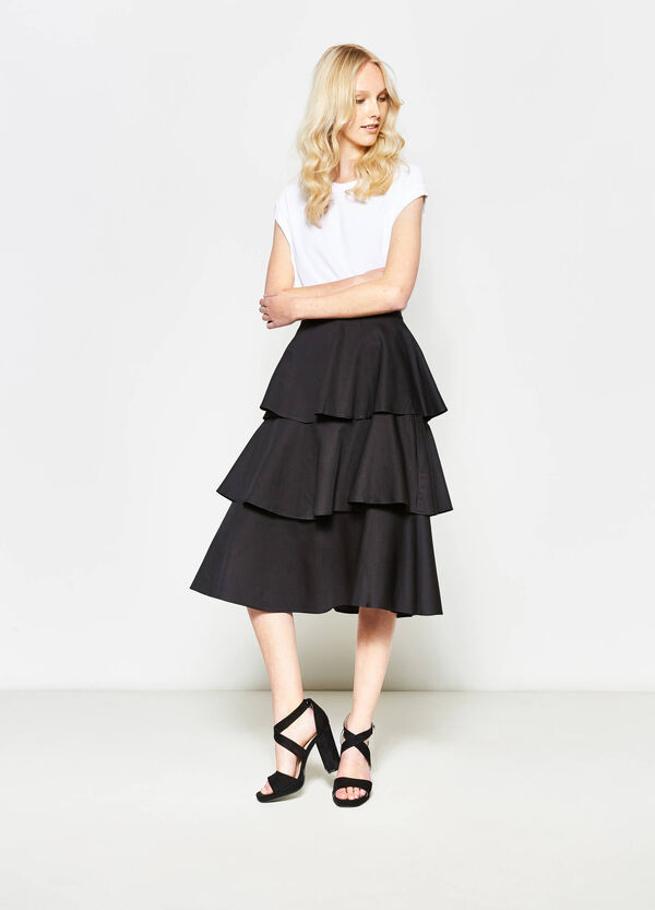 Solid colour skirt with flounces | OVS