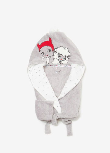 Mélange dressing gown with embroidery and Baby Angel patch