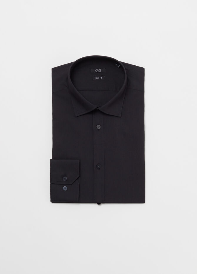 Solid colour slim-fit shirt in cotton blend