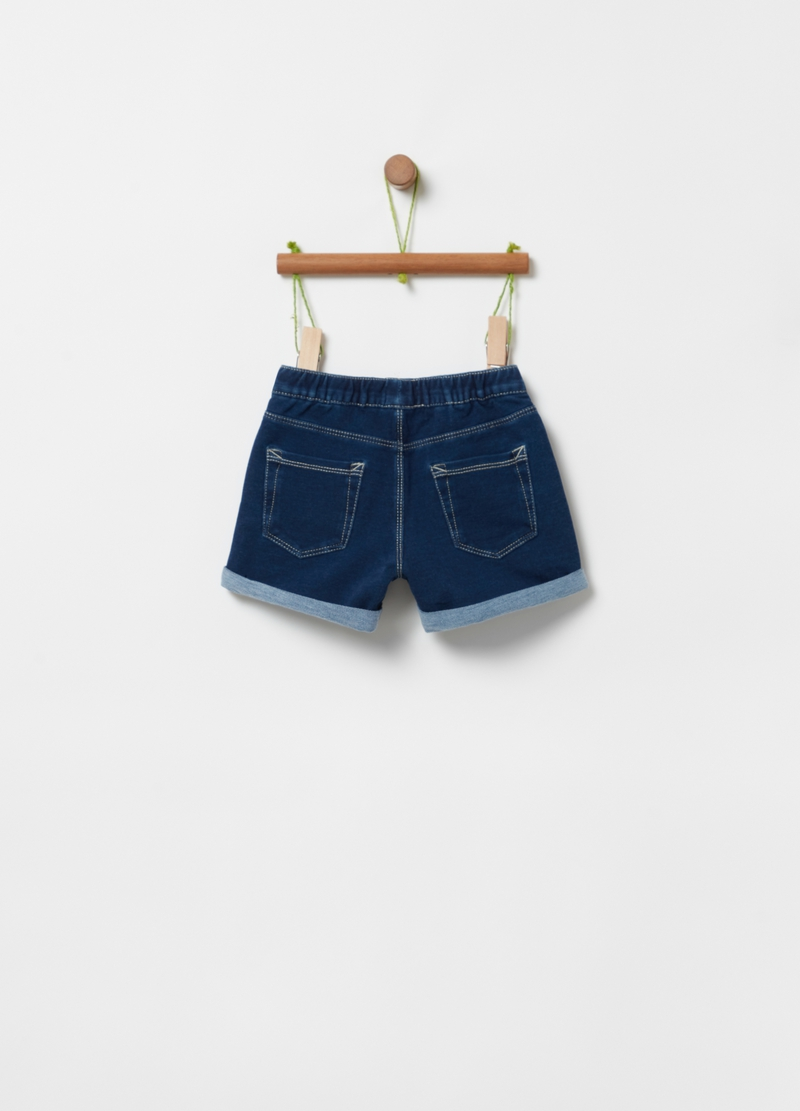 Shorts French Terry denim con strass image number null