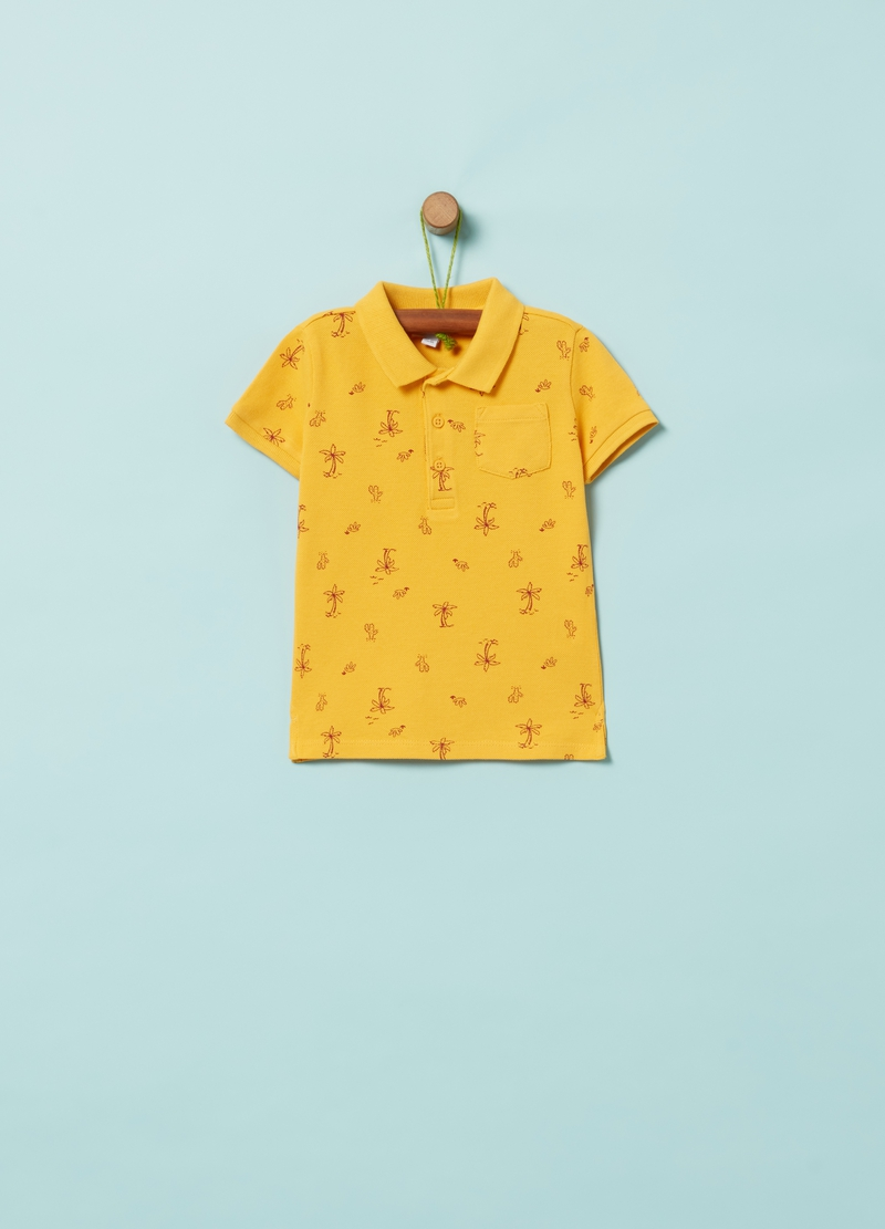 100% organic cotton polo shirt with palms print image number null