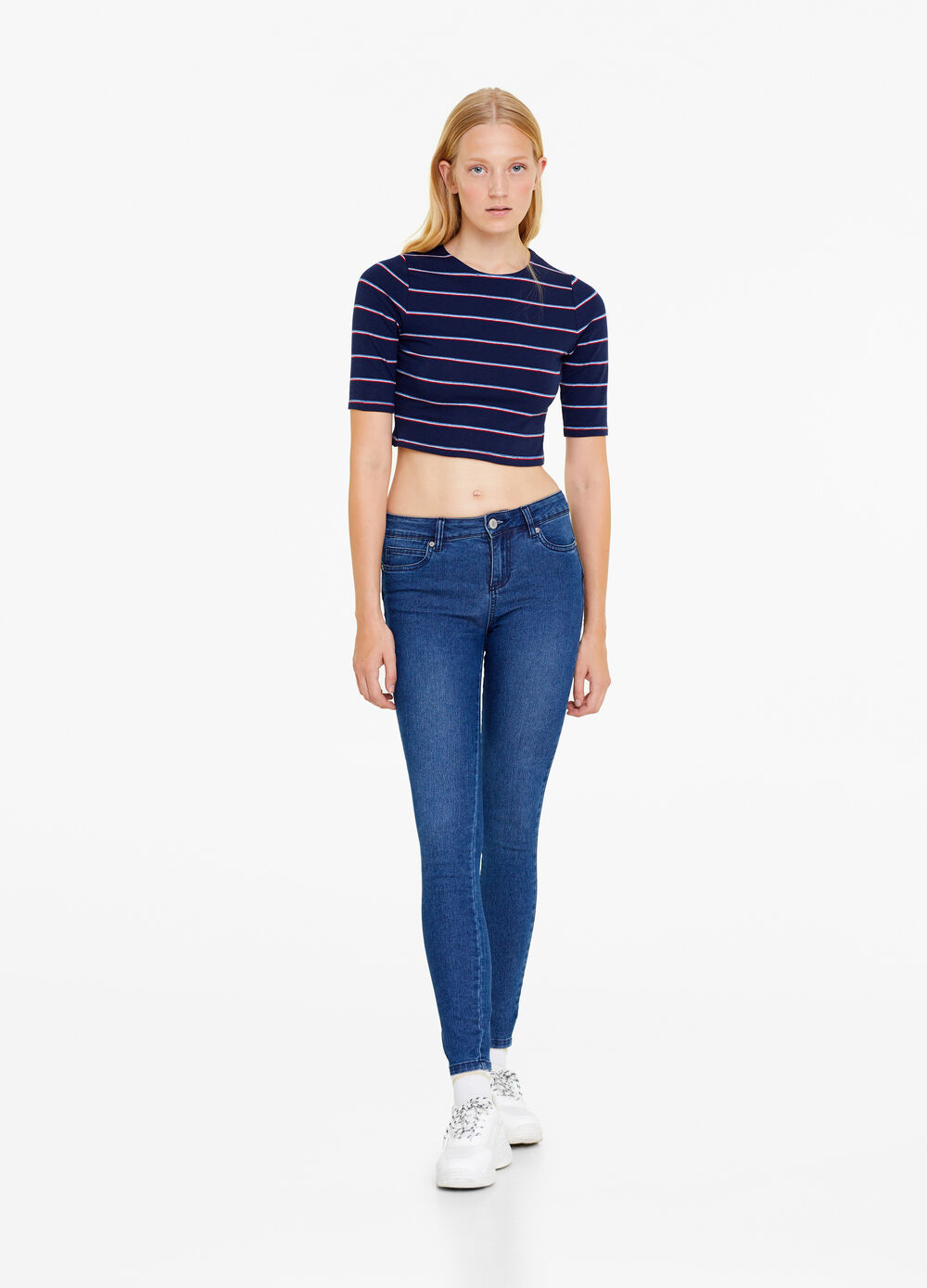 Jeans push up stretch tinta unita