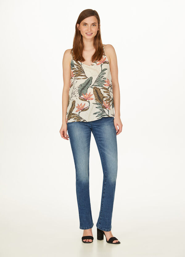 Top with criss-cross spaghetti straps and foliage pattern