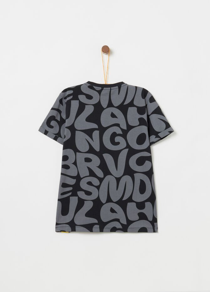 100% cotton T-shirt with all-over lettering print