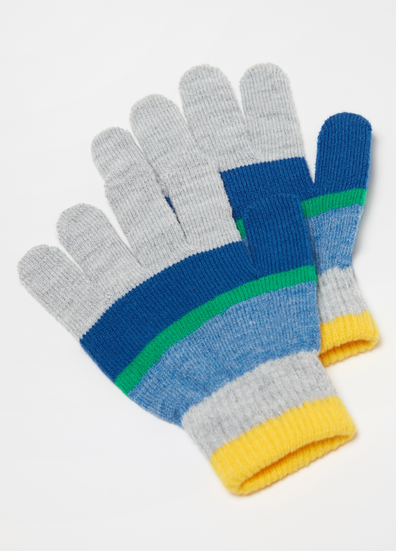 Ribbed knit gloves with striped pattern image number null