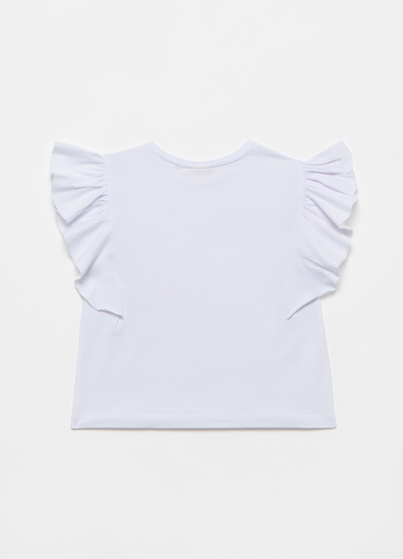 T-shirt with flounced sleeves image number null