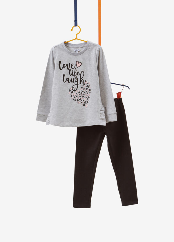 Printed cotton tracksuit with diamantés and flounce