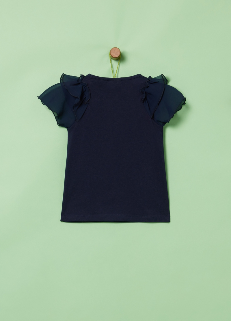 T-shirt cotone stretch con balze image number null