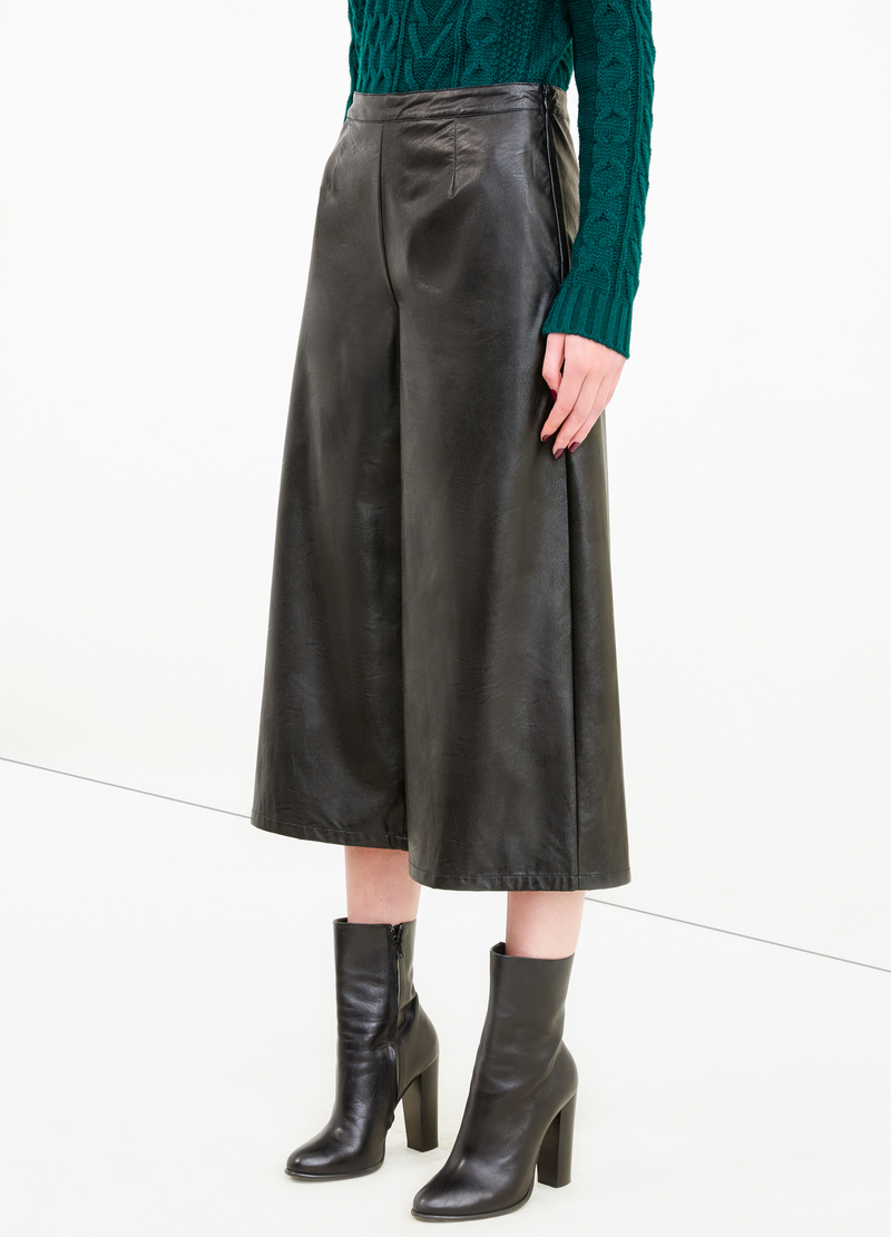 Leather look gaucho trousers image number null