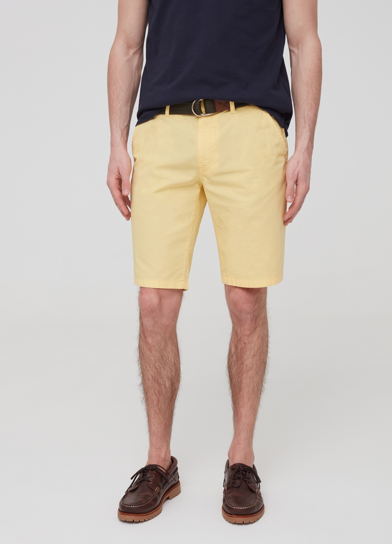 Solid colour 100% cotton chino Bermuda shorts. image number null