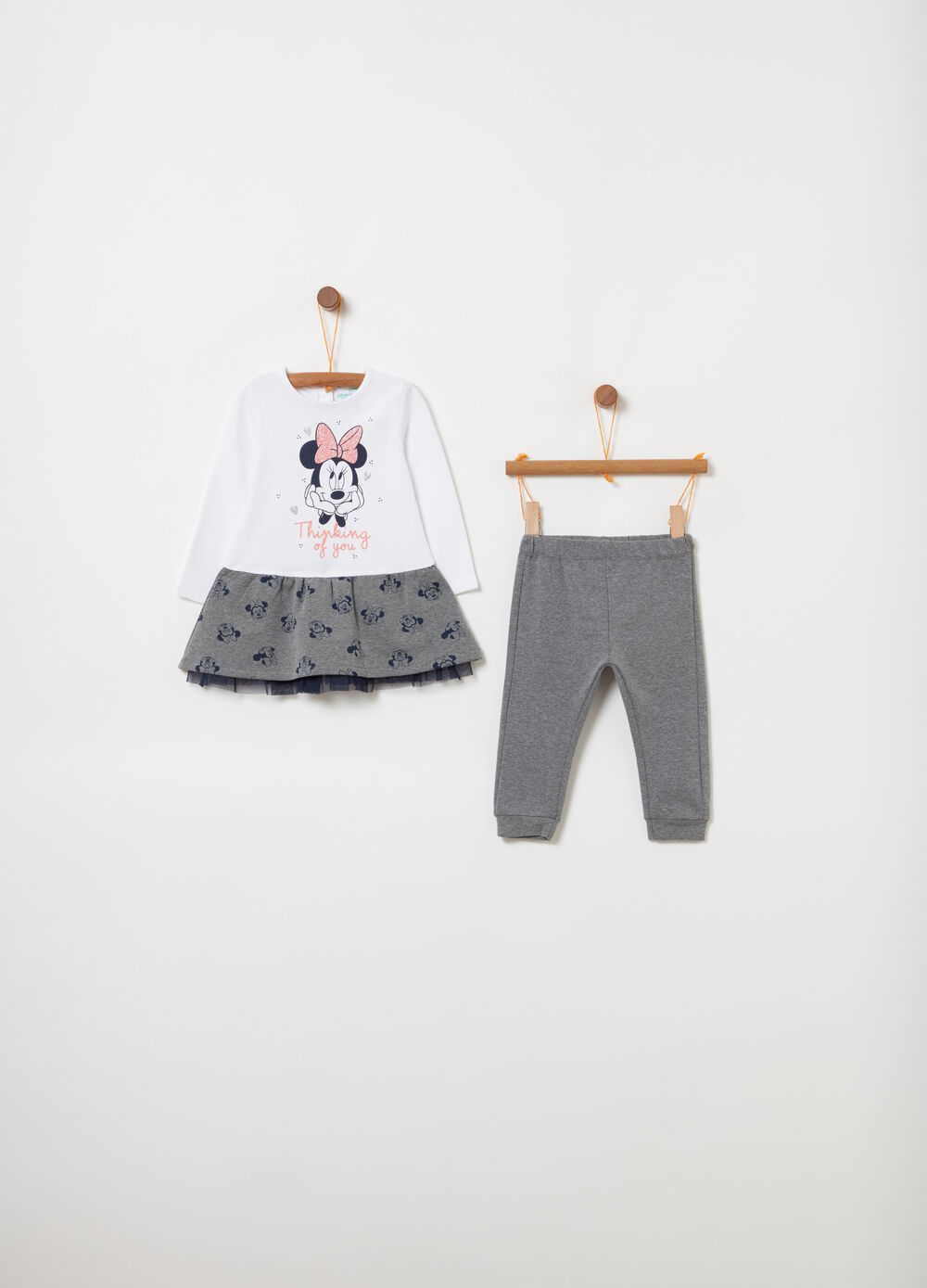 Dress and legging set in tulle with Minnie Mouse print