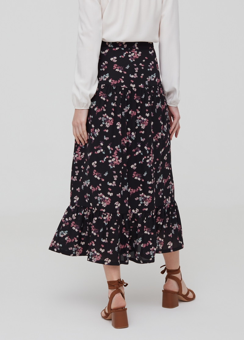 Floral skirt with flounces image number null