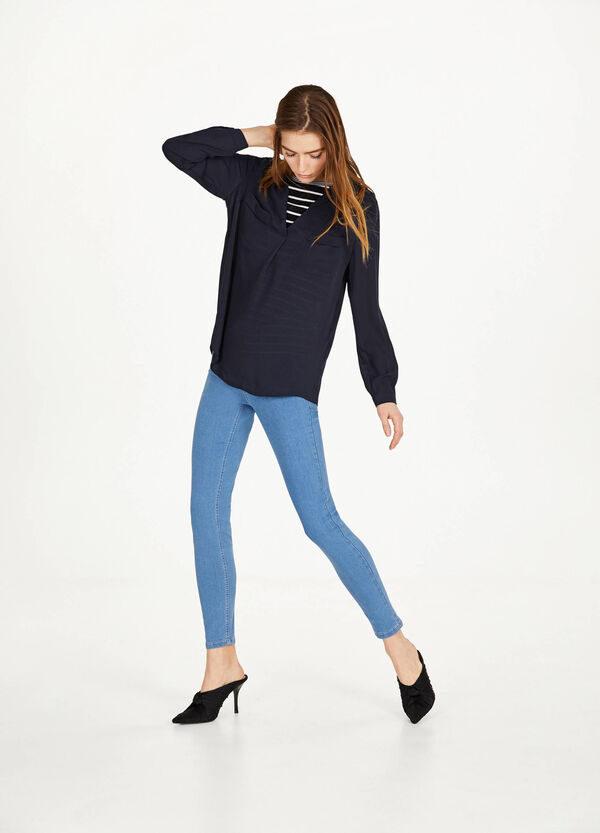 Stretch jeggings with button