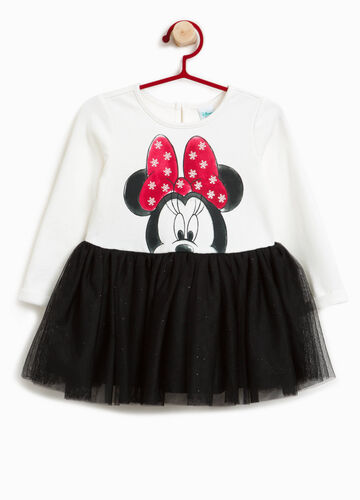 Stretch cotton dress with Minnie Mouse print