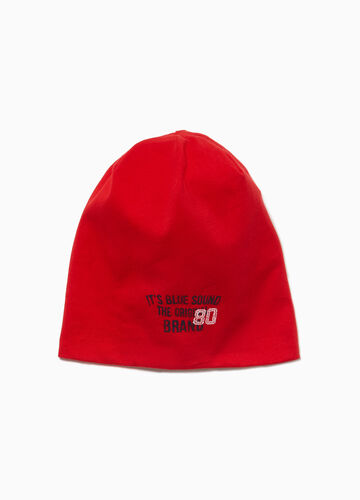 Jersey beanie cap with lettering