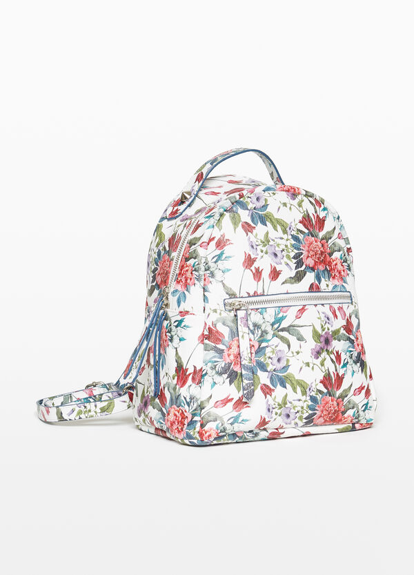 Snakeskin backpack with all-over floral print