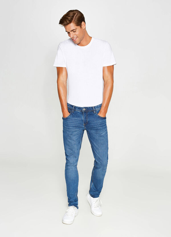 Jeans slim fit stretch con scoloriture