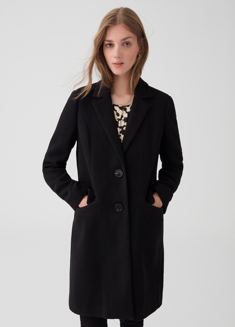 Wool blend coat with lapels and buttons image number null