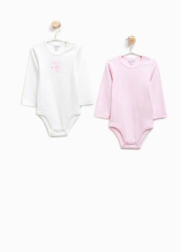 Two-pack organic cotton bodysuits with print