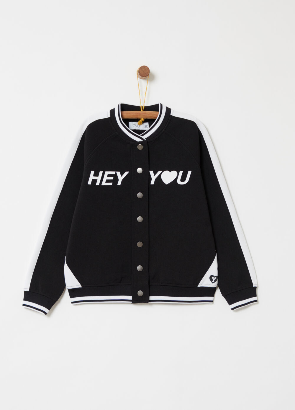 Two-tone bomber jacket with thick print